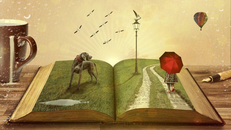 gezeichnetes Buch mit Fantasiewesen